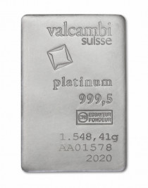 Buy 50oz platinum Valcambi cast bar online with Indigo